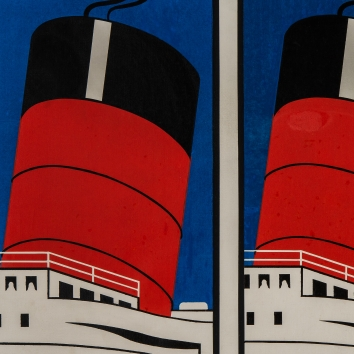 """Detail """"The Queen Mary"""" 1967 Screen Print David Inshaw"""